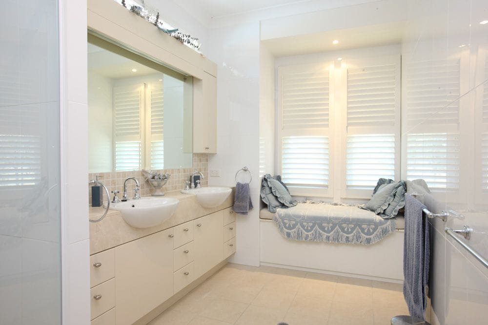 Bathroom with Australian Made PVC shutters - Retailed by Premier Shades Central Coast