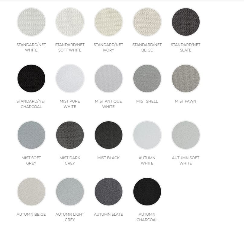 Veri Shades Colour range has 19 options to choose from with several shades white, beige, grey and black