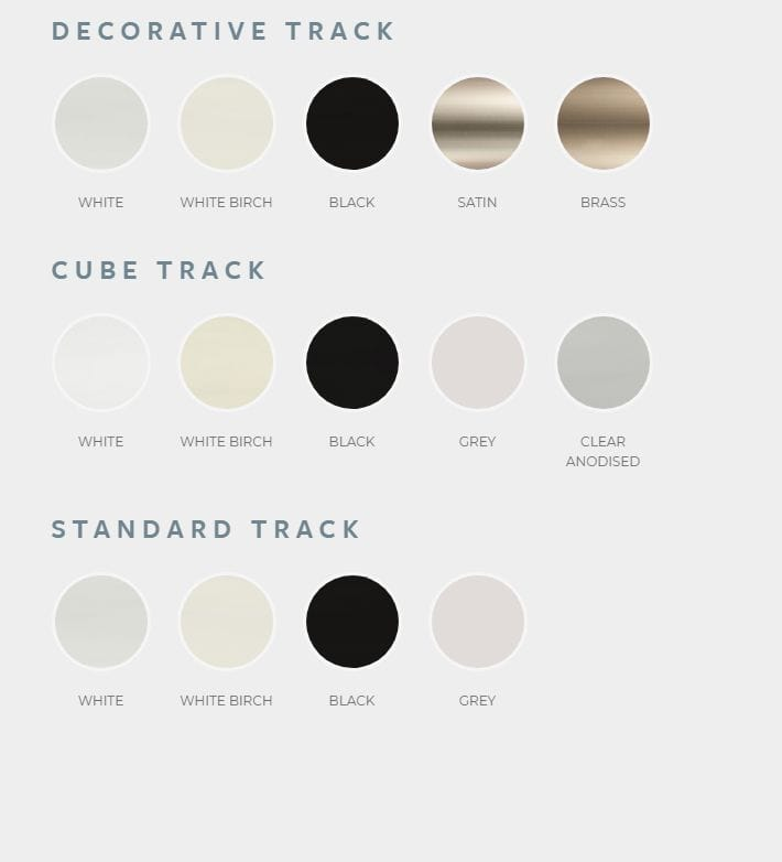 Tracks for Veri Shades blinds have colour ranges in two decorative, cube or standard styles