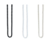 Exapmples of chain options for roller blinds in black white and silver