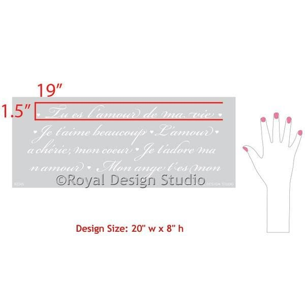 Thumbnail French Love Letters Furniture Stencil