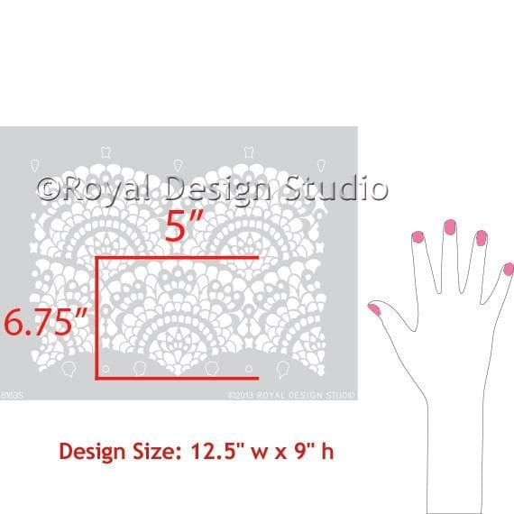 Thumbnail Spanish Lace Scallop Furniture Stencil