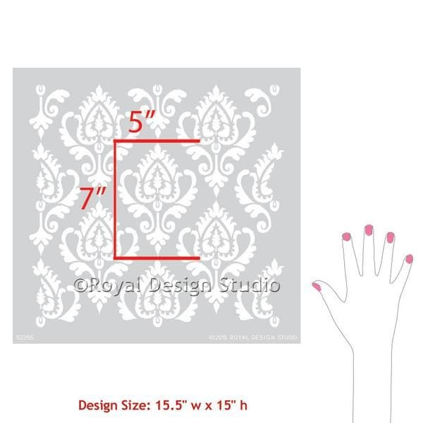 Thumbnail Anika Ikat Damask Furniture Stencil