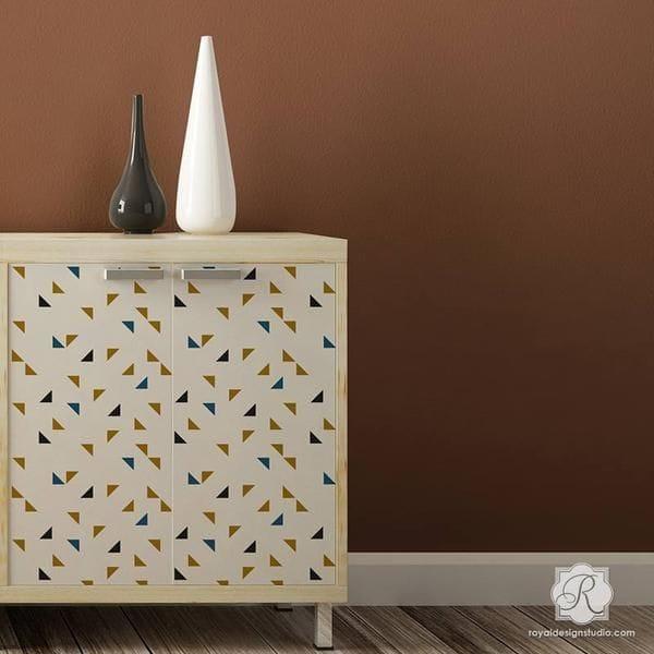 Thumbnail Aztec Triangles Raven + Lily Furniture Stencil