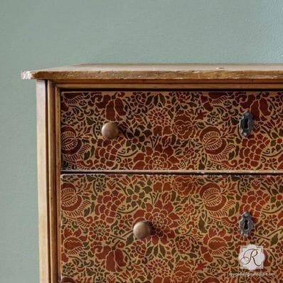Francesca Floral Damask Furniture Stencil