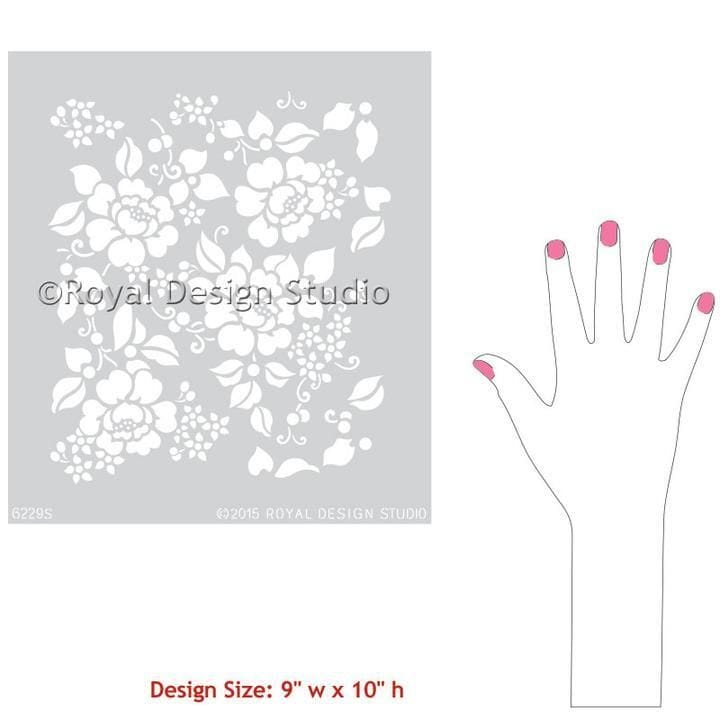 Thumbnail Spring Rose Blossoms Furniture Stencil