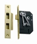 3 Lever Mortice Lock Polished Brass 44mm