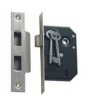 3 Lever Mortice Lock Satin Chrome 44mm