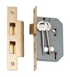 5 Lever Mortice Lock Polished Brass 46mm