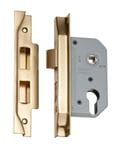 Rebated Euro Mortice Lock Polished Brass 46mm