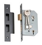 5 Lever Mortice Lock Matt Black 46mm