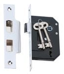 3 Lever Mortice Lock Chrome 44mm