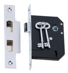 3 Lever Mortice Lock Chrome 57mm