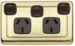 Double Power Point with Extra Switch Polished Brass/Brown