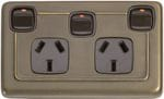 Double Power Point with Extra Switch Antique Brass/Brown