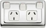 Double Power Point with Extra Switch Chrome/White