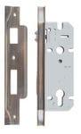 Rebated Left Hand Roller Lock Backset 45mm Antique Brass