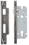 Rebated Left Hand Roller Lock Backset 45mm Rumbled Nickel
