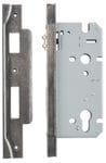 Rebated Left Hand Roller Lock Backset 60mm Distressed Nickel