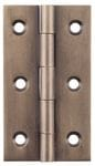 Hinge - Fixed Pin Antique Brass 63mm x 35mm