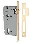 85mm Euro Roller Mortice Lock Brushed Brass 60mm