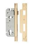 85mm Rebated Euro Roller Mortice Lock Brushed Brass 45mm