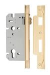 85mm Rebated Euro Roller Mortice Lock Brushed Brass 60mm