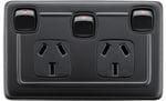Double Power Point with Extra Switch Matt Black/Black