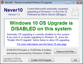 Preventing the automatic update to Windows 10