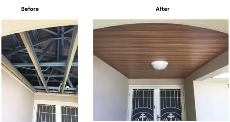 Ceiling boards before and after