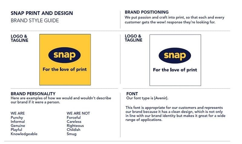 Your brand style guide on a page - template