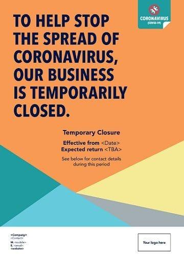 Coronavirus Poster - Temporary Closure