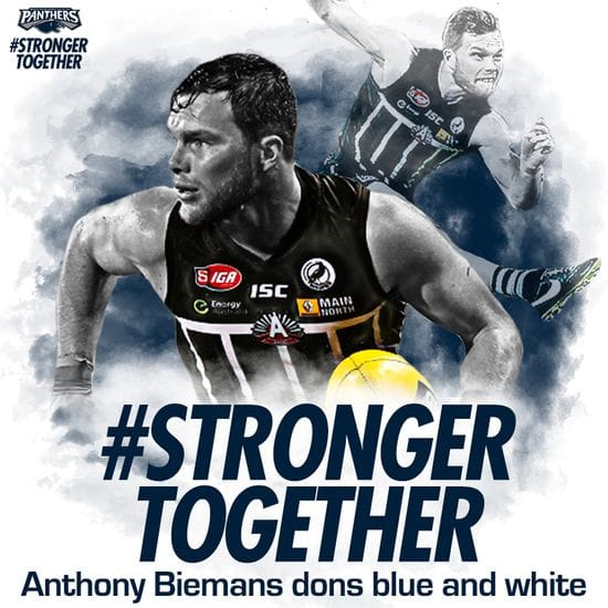 Biemans to don Blue and White in 2018