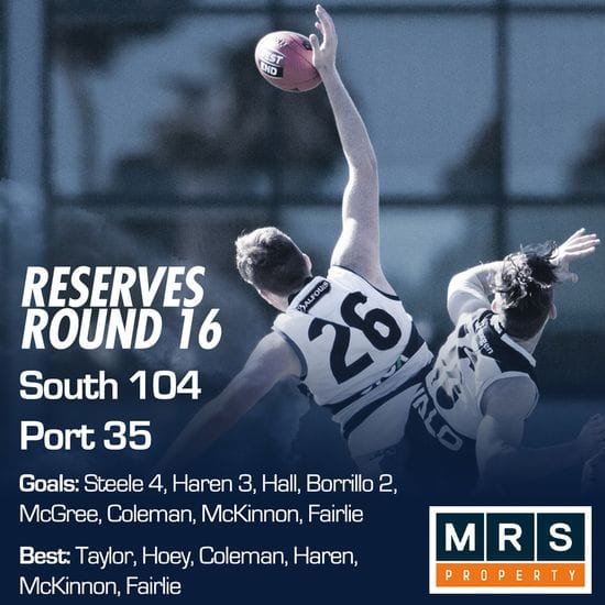 Reserves Match Report - Round 16 - South Adelaide vs Port Adelaide