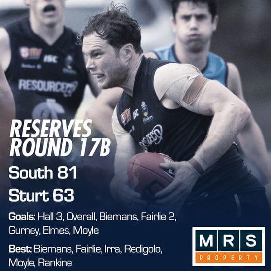 Reserves Match Report - Round 17B - South Adelaide vs Sturt