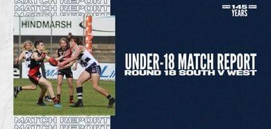 Under-18 Match Report: Round 18 vs West Adelaide