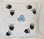 Large white European pillow with paw prints