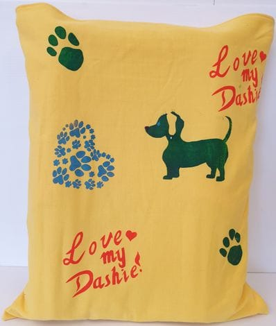 "Yellow ""Love My Dashie"" orthopedic pillow"