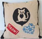 """""""Meow"""" cat pillow"""