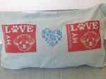 "Blue ""Love My Maltese Shih Tzu"" pillow"