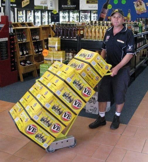 rotacaster hand trucks make life easy for Lakeside Tavern Bottle Shop