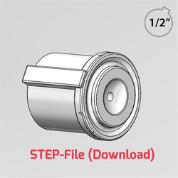 """3D Step File - 1/2"""" customisable hub for use with 48mm Rotacasters (R2-0484-__)"""