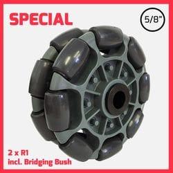 """125mm R1 Rotacaster Dual Wheel, 5/8"""" plain bore"""