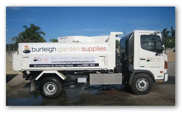 Burleigh Garden Supplies (Gold Coast) stocks a comprehensive range of landscaping products including turf, garden mulches, sands, soils, gravels, decorative pebbles, cement products, pavers, concrete blocks, and bricklaying products, tools and landscaping supplies