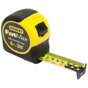 "STANLEY FAT MAX 1-1/4"" X 26' 8M TAPE MEASURE"