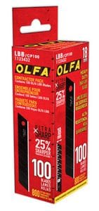 Olfa LBB/CP100 18MM UltraSharp Black Blades 100/PACK