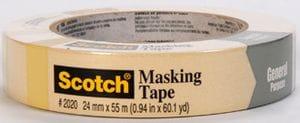 3M 2020 Gen Purpose Mask Tape 18mm 48/Cs