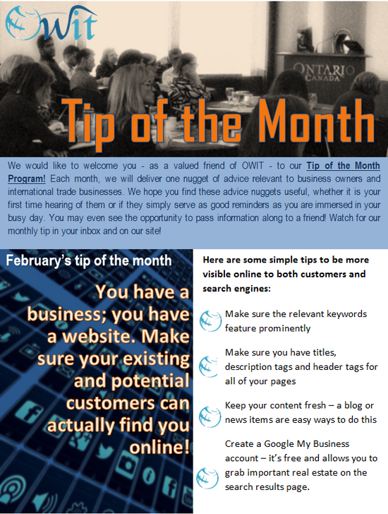 OWIT-Toronto's Tip of the Month - Created by Bloomtools