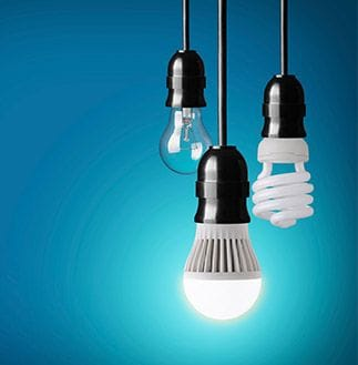 Hanging lightbulbs with blue background