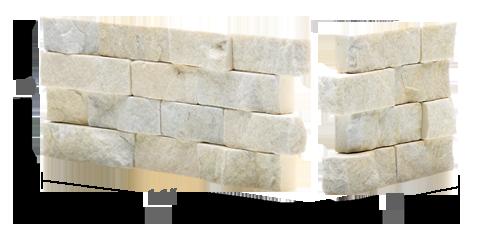 Staxstone Natural Stone Veneer - Rock Panel Ivory Quartz Corner Unit